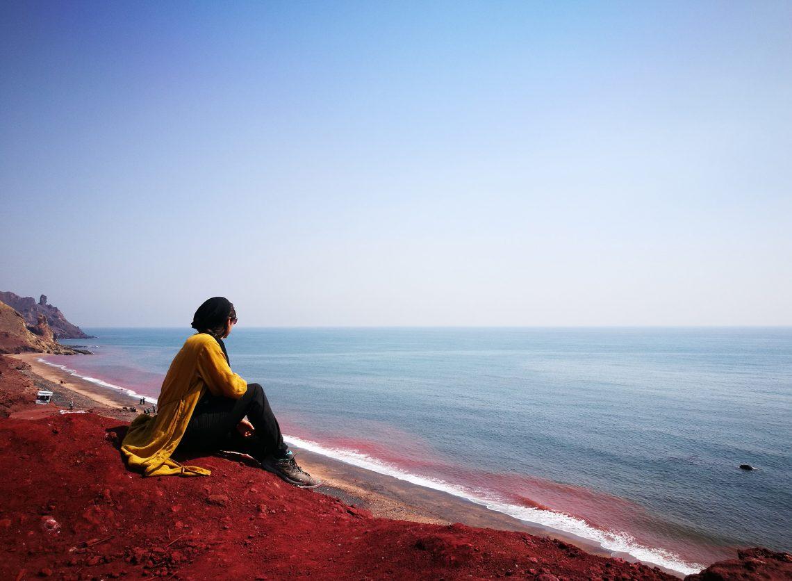 Côte Sable Rouge Hormuz Golfe Persique Sud Iran